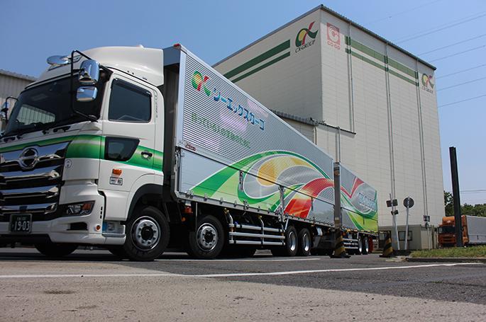 全長21mフルトレーラの導入によるCO2排出量・燃料量の削減